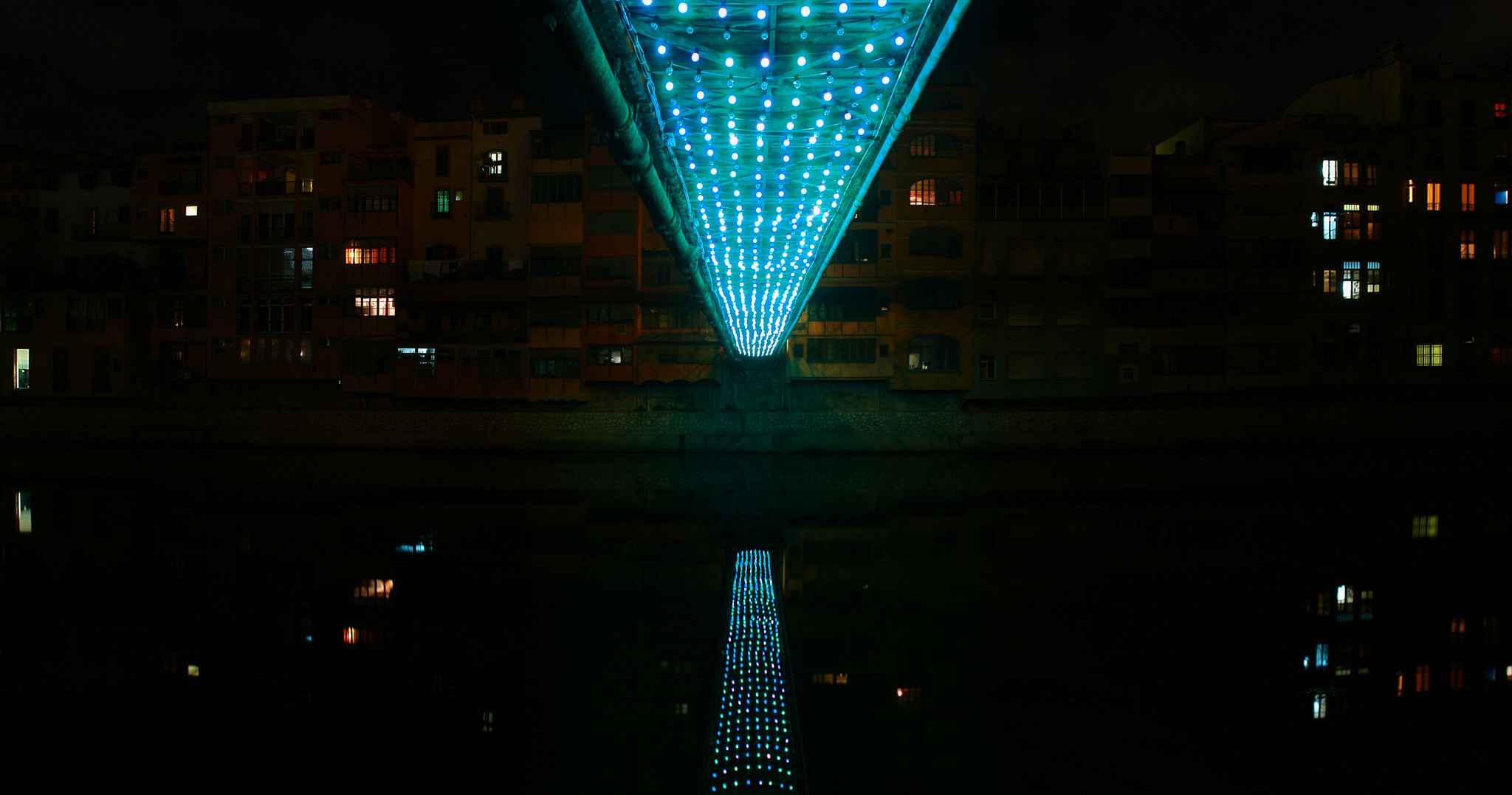 light bridge - temporary installation at Peixateries Velles bridge in Girona